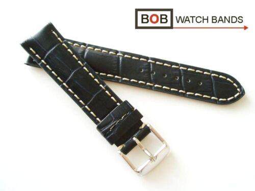 BOB KALBLEDERUHRBAND ALLIGATORPRÄG SCHWARZBLAU Kompatibel mit Breitling 20 mm