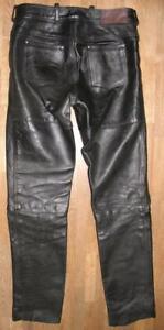 034-Arizona-Louis-034-Men-039-s-Leather-Jeans-Biker-Trousers-Black-Approx-W35-034-L36