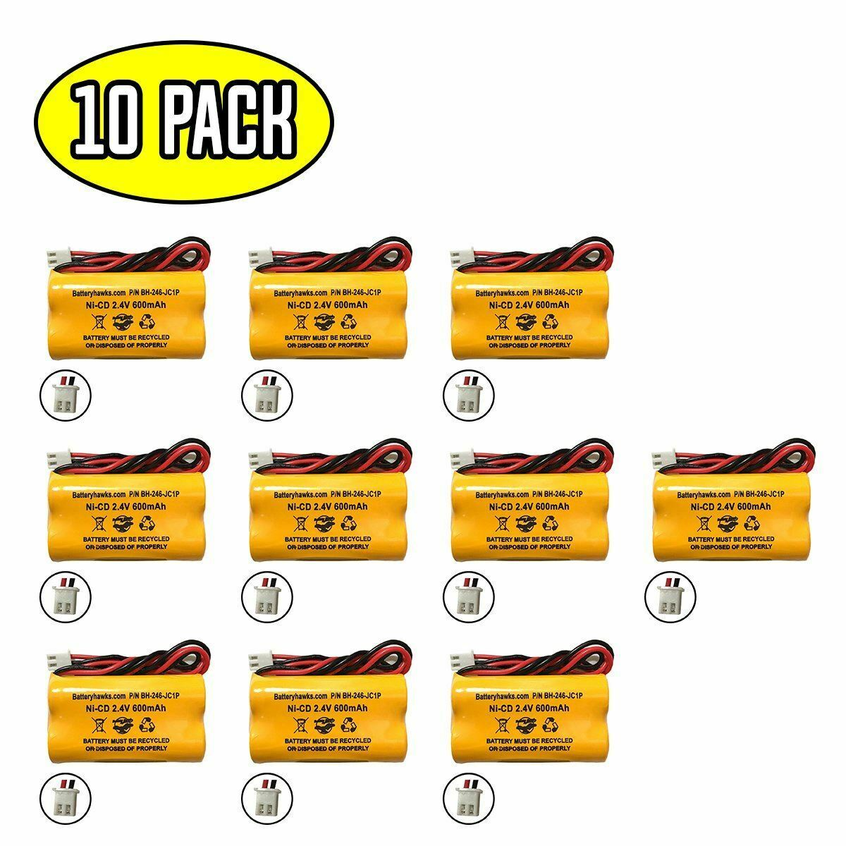 (10 pack) 2.4v 600mAh Ni-CD Battery Pack Replacement for Emergency / Exit Light