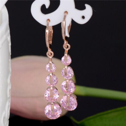1 Paire Femme élégante Boucles d/'oreilles Créoles coloré brillant cz cristal Dangle Boucles d/'oreilles
