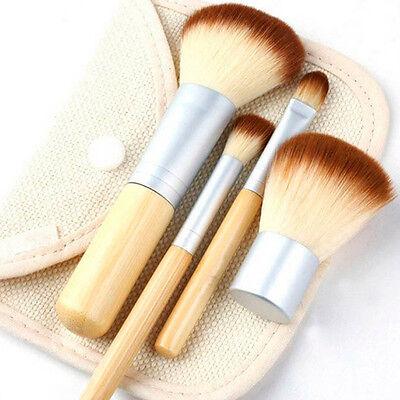1x Bamboo Handle 4PCS Professional Makeup Foundation Brush Set Flap Top With Bag