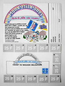 Bon jeu concours 1988 Hasbro TF1  Mon Petit Poney vintage My Little Pony France