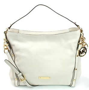 e129372d89e7a5 Image is loading Michael-Kors-Leigh-Vanilla-Off-white-Leather-Shoulder-