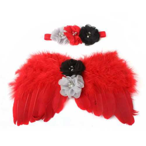 Baby Newborn Angle Feather Wing Headband Photograph Prop Suit Infant Clothes