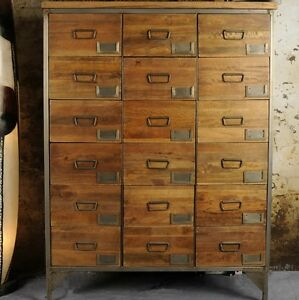Image Is Loading Office Apothecary Cabinet Large Chest Drawers Tall Vintage