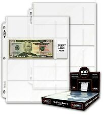 50 BCW Pro 4-Pocket Currency Album Pages small dollar bill banknote sheets