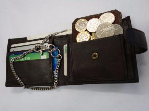 Gents Qualité Doux Portefeuille En Cuir Avec Sécurité Chaîne en Marron RFID preuve