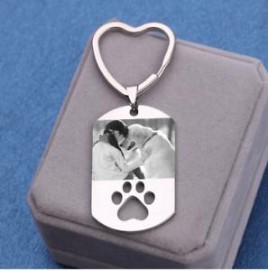 Personalized Dog Keychain Dog Photo Keychain Customized Dog Keychain Stainless