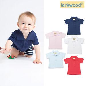 Larkwood-Baby-Polo-Shirt-LW040-Toddler-Taped-Neck-Tee-Hemmed-Sleeves-T-shirt