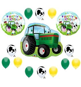 Details About Tractor Birthday Party Balloons Decorations Farm Animal Cow John Deere Shower