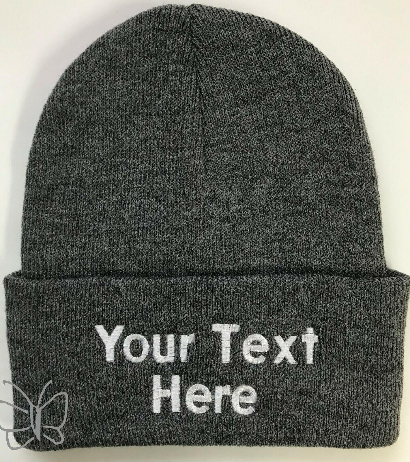 Heather Charcoal Gray custom beanie hat with the folded part