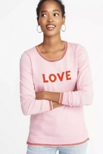 1e0e97f2d9f NWT OLD NAVY WOMEN'S COTTON CREW-NECK PINK WITH LOVE LOGO SWEATER ...