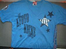 "Live From Clothing"" Tokyo "" Blue studded V NECK T-SHIRT  MEDIUM vintage"