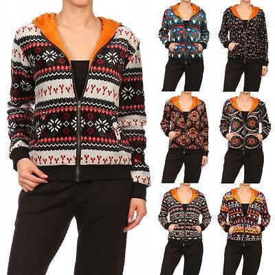 Winter Velvet Fur Lined Hoodie Hooded Jacket Zipper Christmas Bohemian Print Top