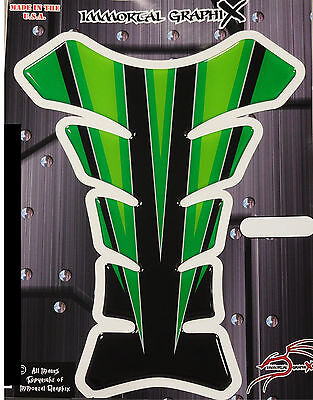 Black Diamondplate Green  Motorcycle Gel tank pad tankpad protector