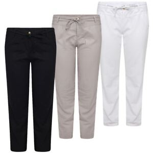 04ab5b236c3 Womens Ladies Linen Trousers Plus Size Summer Pants Casual Holiday ...