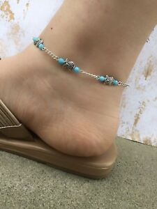 Details About Owl Ankle Bracelet Anklet For Women Blue Beaded Boho