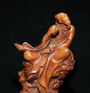 Collect noble natural Boxwood carve celebrated poet li po Li bai Statue figurine