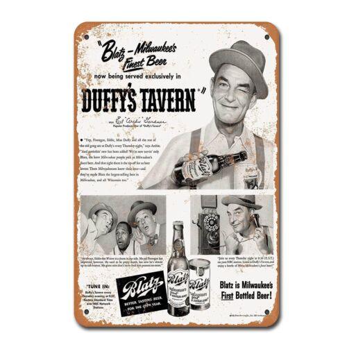 1950 Blatz Beer and Duffy/'s Tavern Vintage Retro Tin Sign Metal Decor Metal