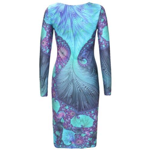 Plus Size Vintage Print Bodycon Dress Psychedelic Peacock Geometric Clubwear