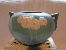Roseville vintage pottery Primrose Pattern double handle blue/teal 284-4