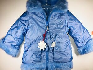 NEW-The-Children-s-Place-Reversible-Jacket-Girls-4-XS-Extra-Small-Blue-FUR-Coat