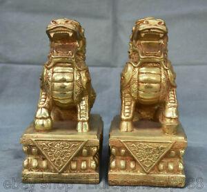 """8 """"Vieux Chine Cuivre Or Feng Shui Qilin Dragon Bête Chanceux Statue Sculpture"""