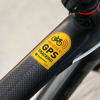 2x ANTI THEFT STICKER - Bike, Bicycle GPS Tracking, Sound Chain Lock Warning