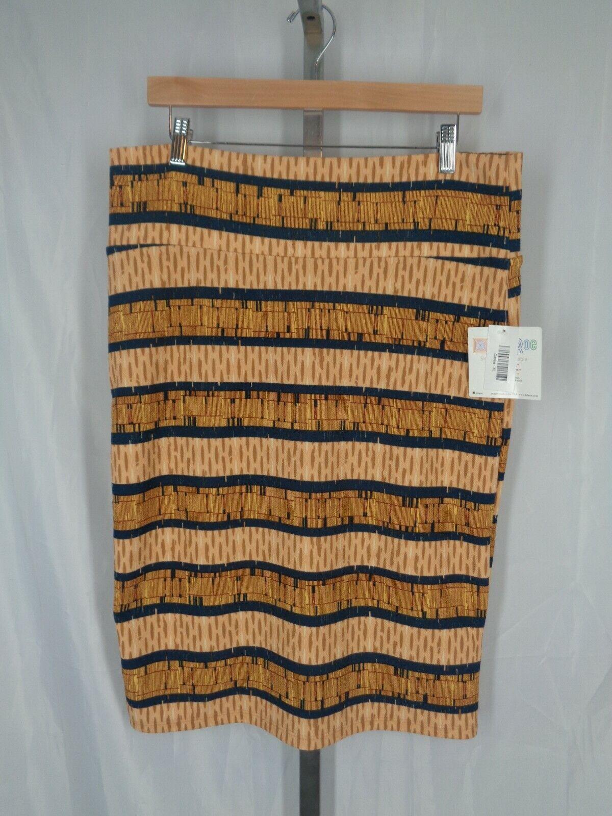 Lularoe Cassie Skirt Size XL Tribal Stripe Beige bluee Brown Stretch New