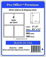 400 Shipping Labels-4x5-round Corner-4 Per Sheet--blank Labels-self Adhesive