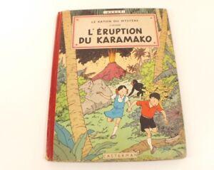 BD-Jo-Zette-et-Jocko-L-039-eruption-du-Karamako-1952-4eme-plat-B6-Herge-Casterman