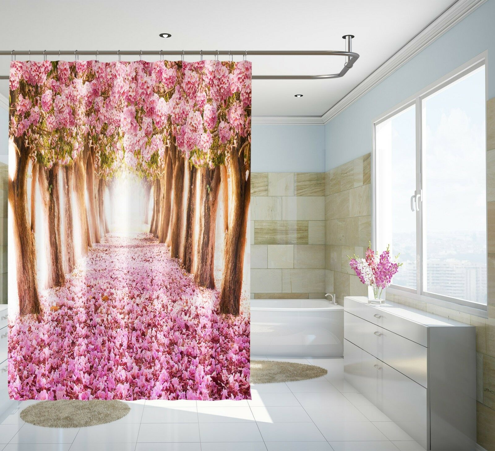 3D Kirschblüte Pfad 7 Duschvorhang Wasserdicht Wasserdicht Wasserdicht Faser Bad Daheim Window Toilette | Großhandel  | Deutschland Shops  96f619