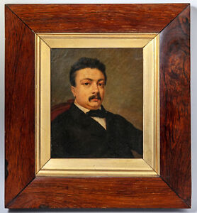 Antique-Victorian-Portrait-in-Oil-Miniature-or-Small-in-Size-Burled-Wood-Frame