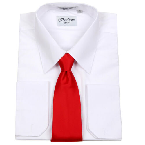 Men/'s Berlioni Business French Cuff Tie Set White Dress Shirt And Red Tie