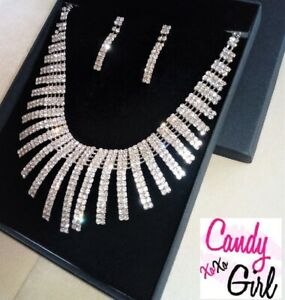 Crystal Diamante Statement Geometric Spiral Necklace And Earrings Jewellery Set
