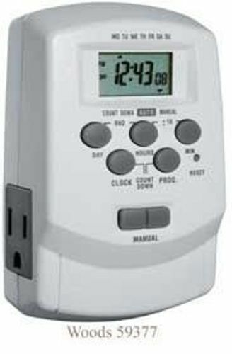 Woods 59377 aussi 49377 Digital 7-Jour de Lampe//appareil minuteur avec 2 prises