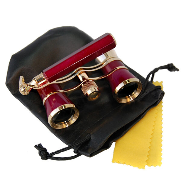 HQRP Opera Glasses Burgundy / Gold with Handle