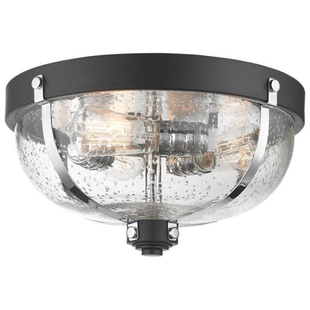 Z Lite 337f3mb Ch Burren Flush Mount Light Matte Black Chrome For Sale Online Ebay