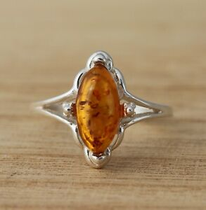 Cognac-Baltic-Amber-925-Sterling-Silver-Ring-Marquise-Baltic-Amber-Jewellery