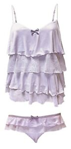 New-La-Senza-Ladies-camisole-Pyjama-nightwear-set-Vest-top-amp-Pants-Lilac
