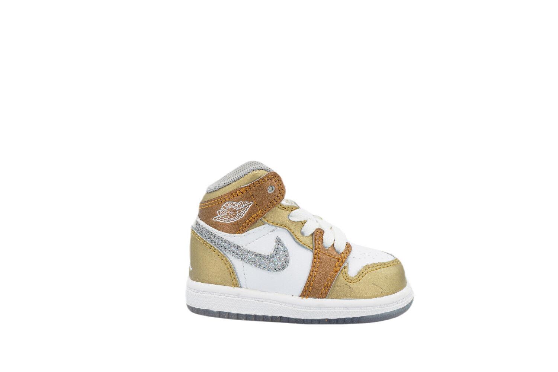 [364773-135] Air Jordan 1 PHAT Toddlers TD White/Metallic Gold-Silver
