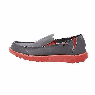 Hey Dude Shoes Mens Farty Funk Dark Grey Red Canvas Slip On Mule In Vielen Stilen