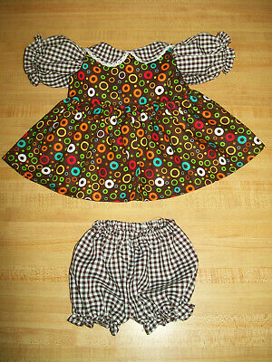 """PURPLE GINGHAM CHECK FLOWER CALICO DRESS for 16/"""" CPK Cabbage Patch Kids"""