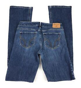 Hollister-Low-Rise-Bootcut-Stretch-Medium-Wash-Distressed-Blue-Jeans-Women-039-s-5L