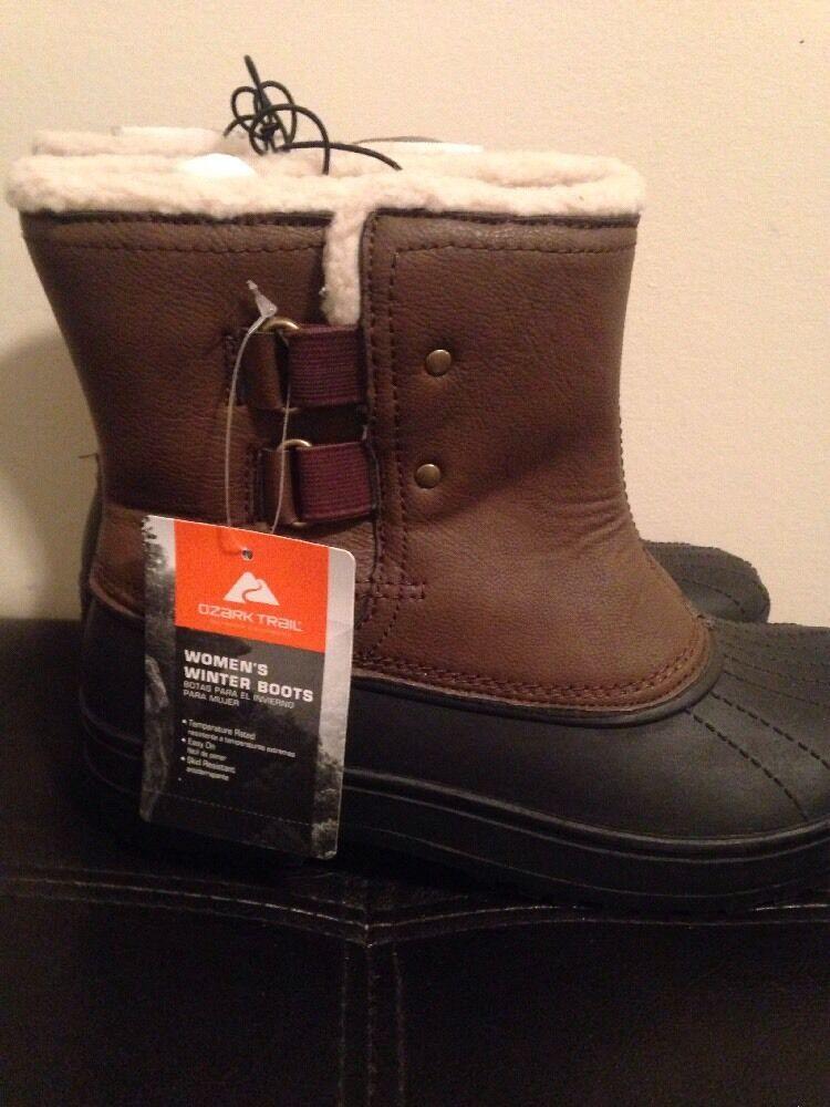 New Women's Ozark Trail Brown Winter Slip On Boots