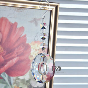 1-Clear-Suncatcher-Hanging-Cut-Crystal-Rainbow-Prism-Lamp-Feng-Shui-Pendant-50mm