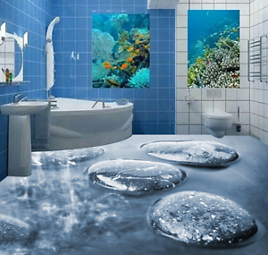 3D Ice Lake Stone 732 Floor WallPaper Murals Wall Print 5D AJ WALLPAPER UK Lemon