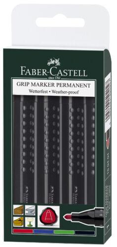 FABER-CASTELL Permanent Marker GRIP Rundspitze 4er Etui