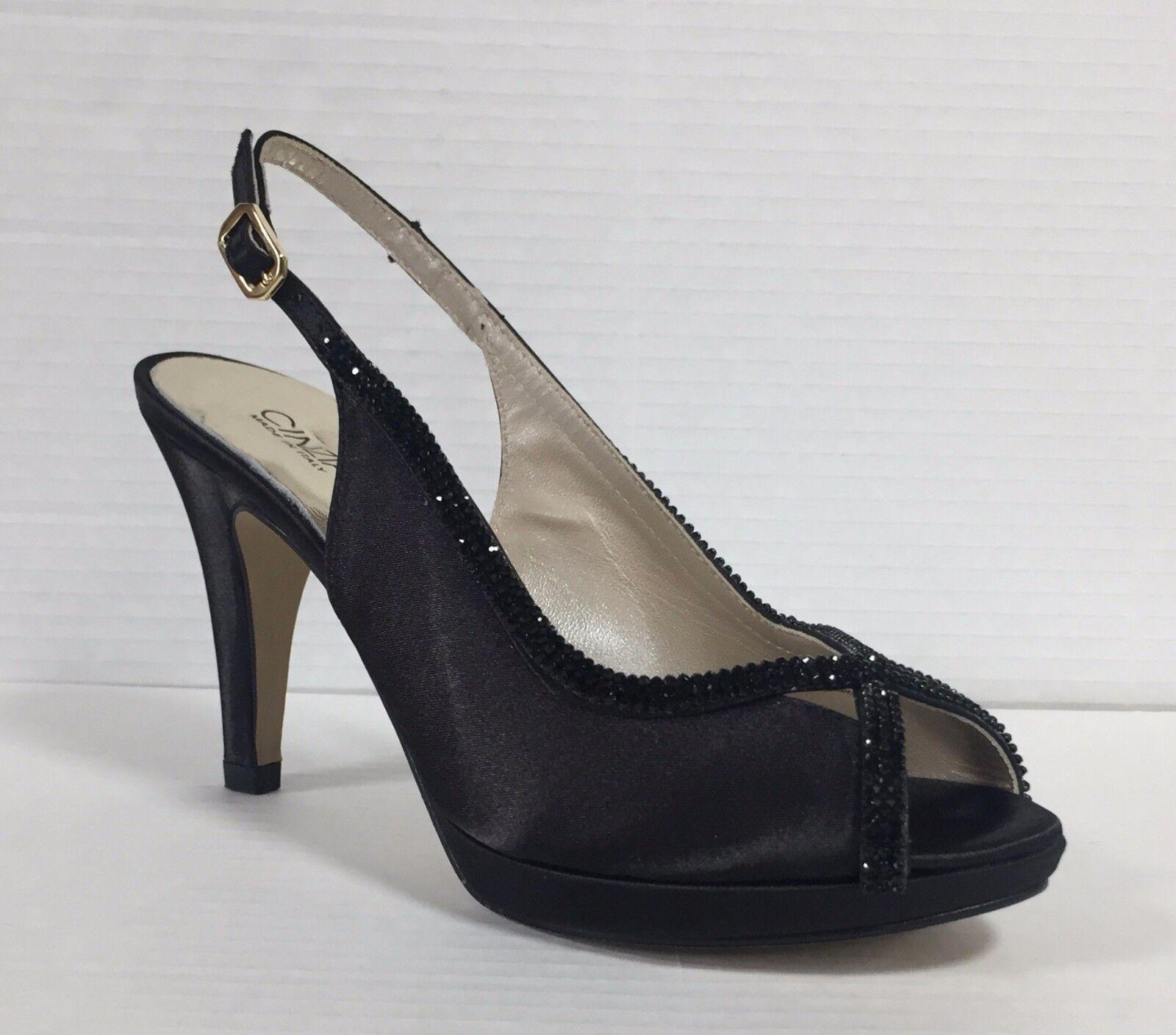 mujer Cinzia elegantes negro Sandalias en satén con Soft para eD2IYbWEH9