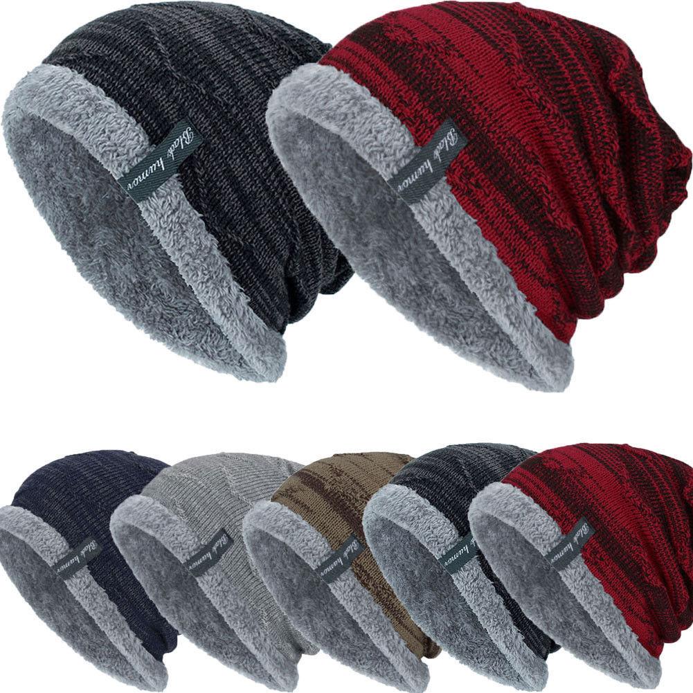 Men Women Winter Knitted Fleece-lined Beanie Hat Slouch Baggy Warm Thick Ski Cap